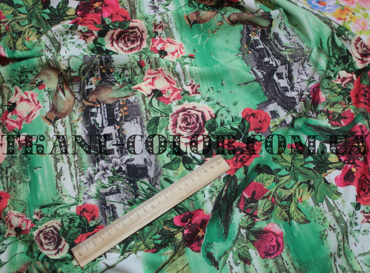 Трикотаж креп-дайвинг принт цветы с птицами