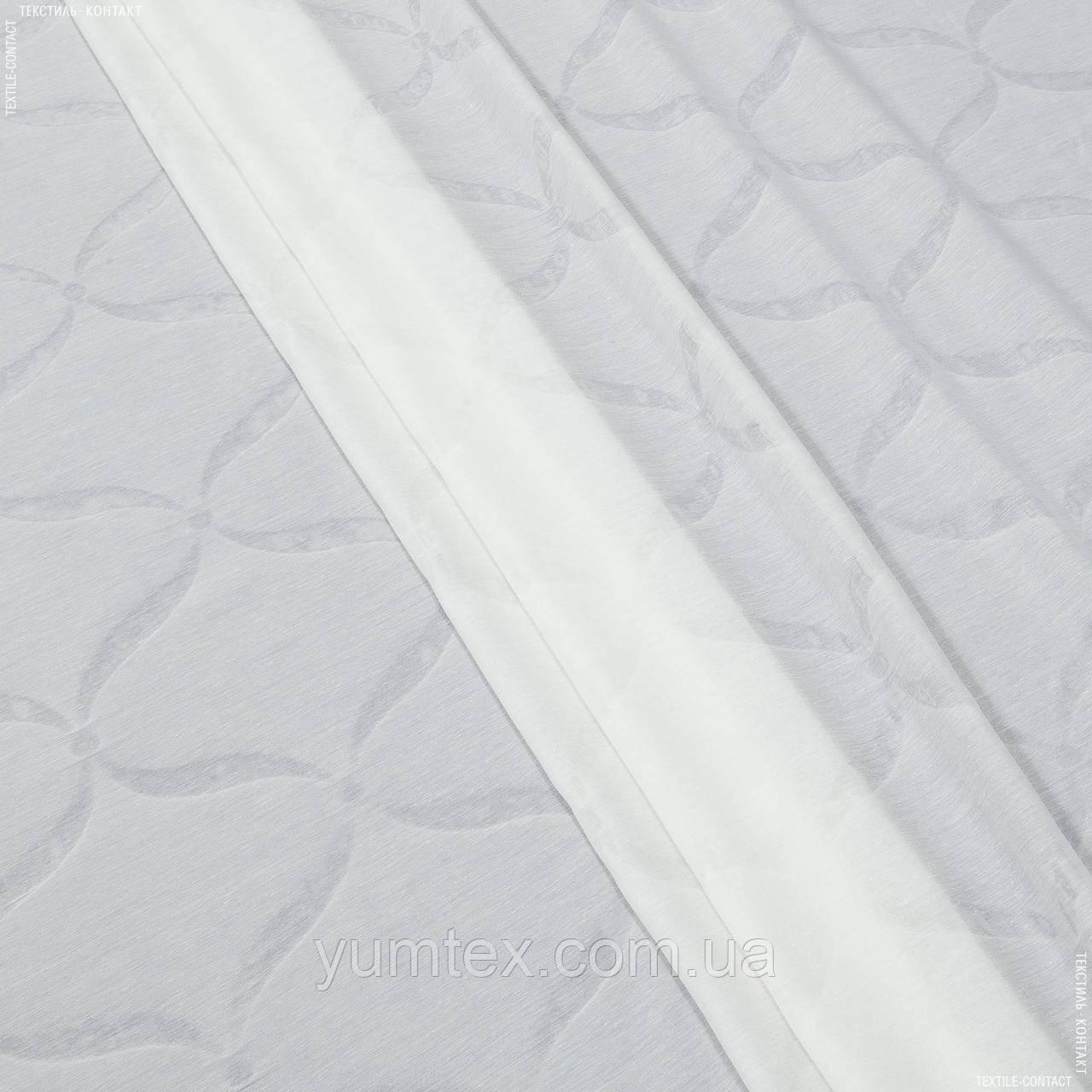 Тюль батист з обважнювачем подвійний тиснення абстракція молочний 137859
