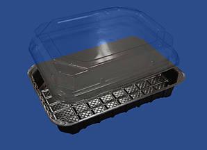 Упаковка для суши 278х195х40 мм. с черным дном, из полистирола