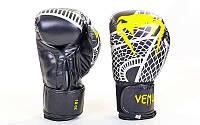 Перчатки боксерские для тренировок VENUM SNAKER VL-5795-BK (р-р 4-12oz, черный-желтый)