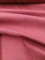 Лляна пом'якшена жаккардова тканина насиченого бордового кольору
