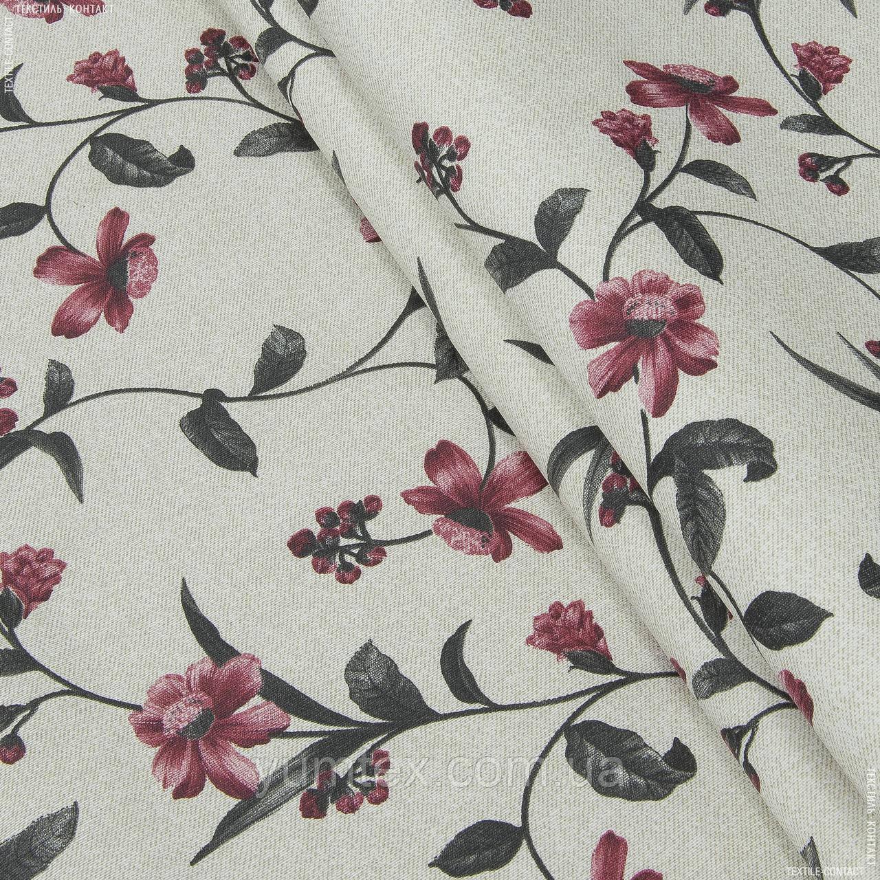 Тканина з акриловою грунтовкою квіткова в'язь, т. сірий,бордо 142744