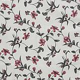 Тканина з акриловою грунтовкою квіткова в'язь, т. сірий,бордо 142744, фото 2