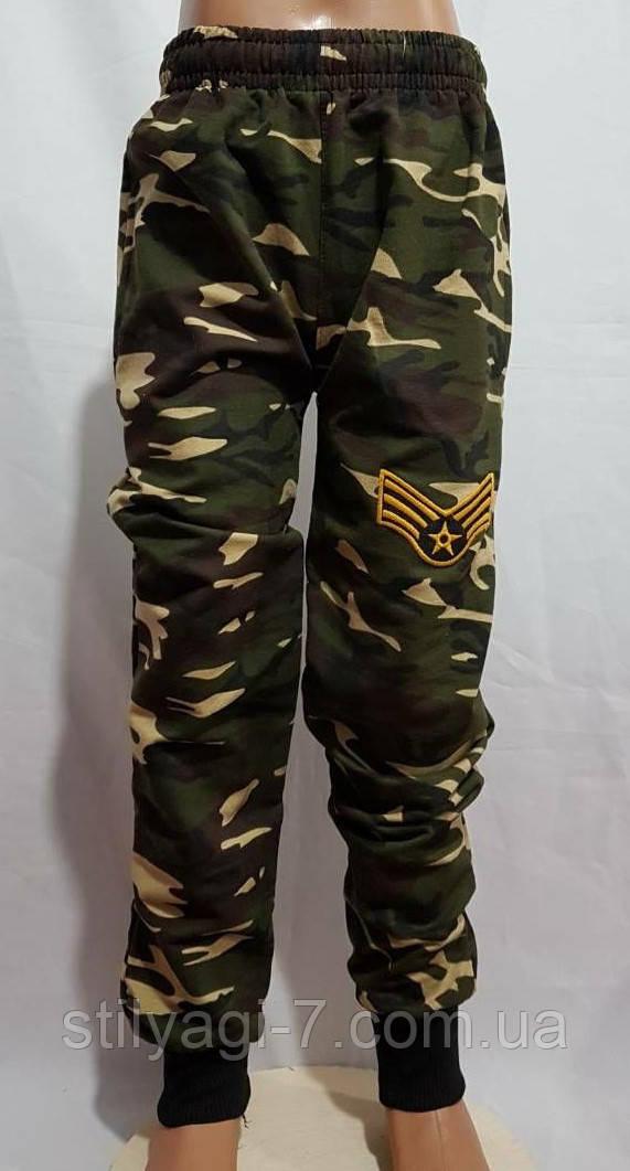 Спортивные штаны для мальчика на 9-12 лет цвета хаки на манжете оптом