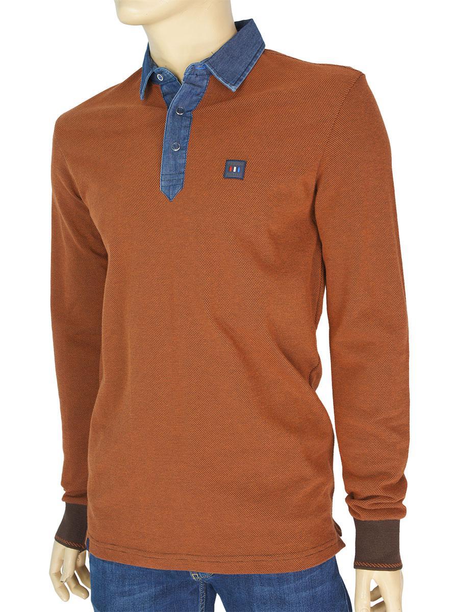 f35951a2acd3f Коричневый мужской свитер Fabiani 3407 с воротником для настоящих ...