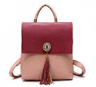 Рюкзак сумка (трансформер) городской женский с брошью и кисточками (розовый с бордовым), фото 1