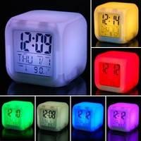 Светящиеся часы-хамелеон Кубик, ночник с будильником, термометром и календарём, 7 цветов подсветки CX-508, фото 2