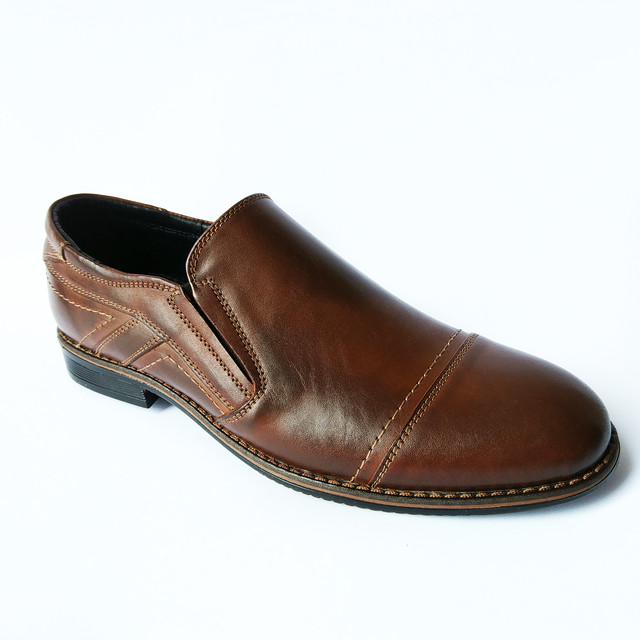 Кожаная, стильная, мужская обувь от производства Украина, модные туфли ярко-коричневого цвета, под ложку от фабрики Balayan Кривой Рог