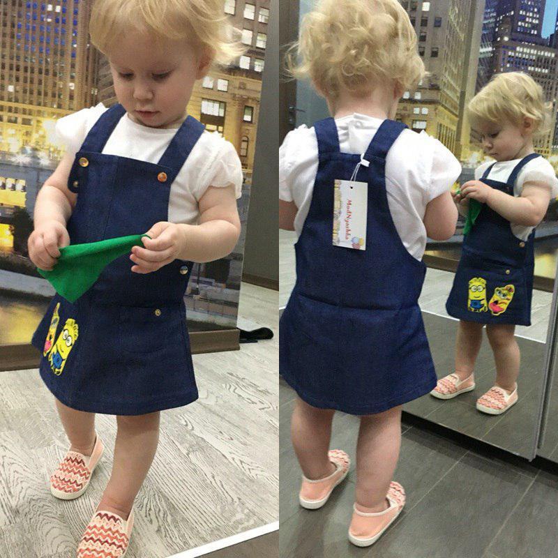 Детский джинсовый комбинезон на девочку с миньонами