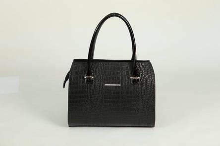 Женская сумка каркасной основы черная под кожу крокодила М50-10/лак, фото 2