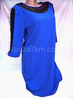 Платья женские оптом с гипюром и сеткой (50-56 батал) креп-дайвинг, фото 1