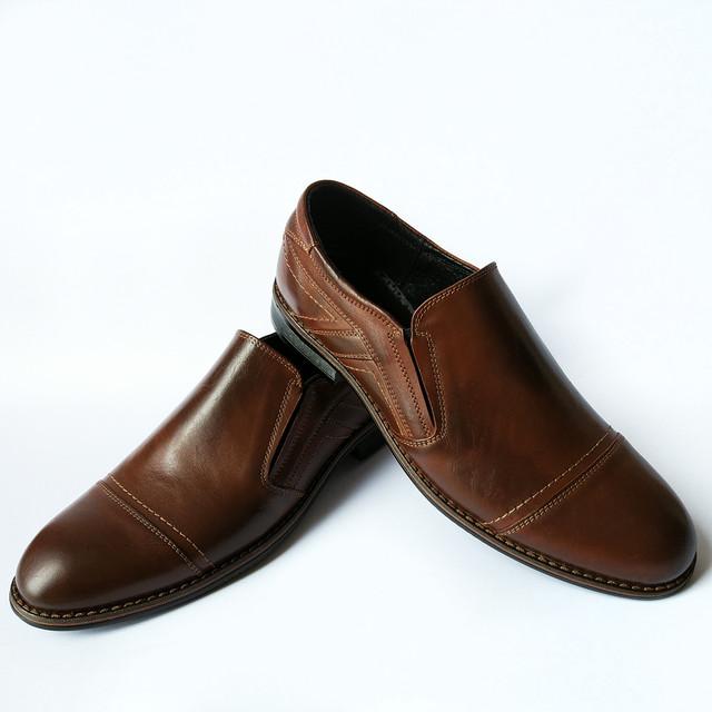 Кожаная, стильная, мужская обувь Украина, деловые туфли коричневого цвета, под ложку от фабрики Balayan