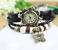 Vintage - женские часы на кожаном ремешке с бабочкой