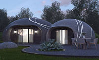 Проект одноэтажного жилого дома площадью 53,3 кв. м. Кухня-гостинная 28,4 м. кв. Санузел 4,5 м. кв. Спальня 18,3 кв. м.