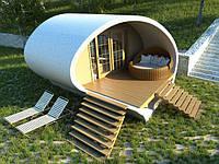Проект небольшого коттеджа был задуман как решение для баз отдыха, санаториев и курортов. Оказалось что частные лица так же заинтересованы в строительстве небольших домиков для гостей. Вся полезная площадь сооружения в плане представлена одной жилой