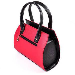 Женская каркасная сумка из кожзама красного цвета стильная, красивая  М68-68/47, фото 2