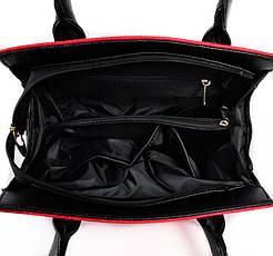 Женская каркасная сумка из кожзама красного цвета стильная, красивая  М68-68/47, фото 3