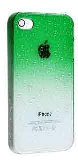 Чехол с каплями зеленый для Iphone 4/4S