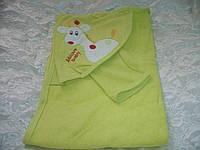 Детское полотенце с уголком и варежкой для купания Жирафик