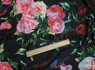 Трикотаж креп-дайвінг принт троянди