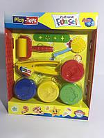Масса для лепки Набор Funset с инструментами и 4 цветами по 80 гр.массы для творчества