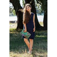 Красивое темно-синее платье свободного кроя. Размеры: M-XXL