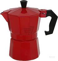Кофеварка гейзерная на 3 чашки 245 мл красная