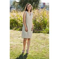 Качественное бежевое платье свободного кроя. 100% хлопок