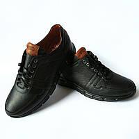 Кожаная обувь Икос : мужские кроссовки ортопедические черного цвета