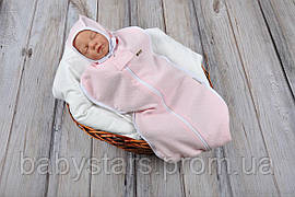 """Пеленки на молнии для новорожденных + шапочка, """"Капитоне"""" нежно розовая, для деток 0-3 мес."""