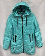 Демисезонное полу-пальто бирюзовогоцветаот 8 до 12лет для девочки