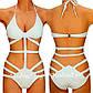 Модный женский купальник, сдельный, монокини, размер XL, белого цвета, фото 3