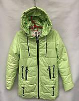 Демисезонное полу-пальто салатовогоцветаот 8 до 12лет для девочки