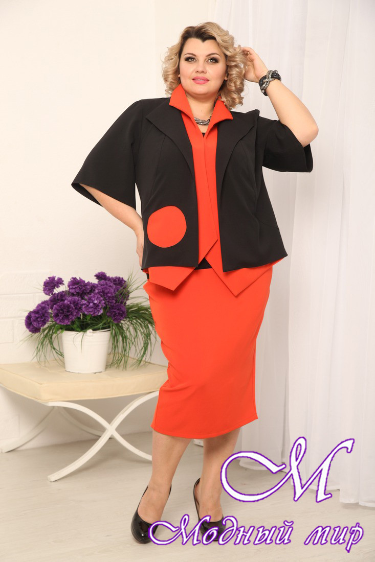 Женская красная юбка батал (р. 48-90) арт. Леля
