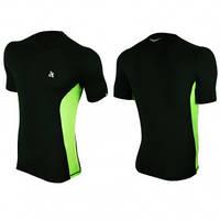 Компрессионная футболка спортивная Radical Fury Duo чёрная с зелёными вставками
