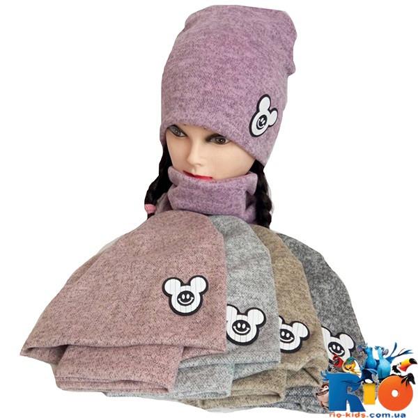 Комплект шапка с хомутом  (весна-осень), двойной трикотаж,  для девочки р-р 52, 5 ед. в упаковке