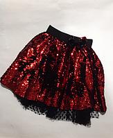 Детская нарядная юбка с поедками для девочек от 3-4 до 10-11 лет.