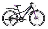 Подростковый велосипед CYCLONE DREAM 24 (черно-фиолет, голубой)