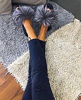 Женские кожаные шлепки-тапки с натуральным мехом ЧЕРНОБУРКИ