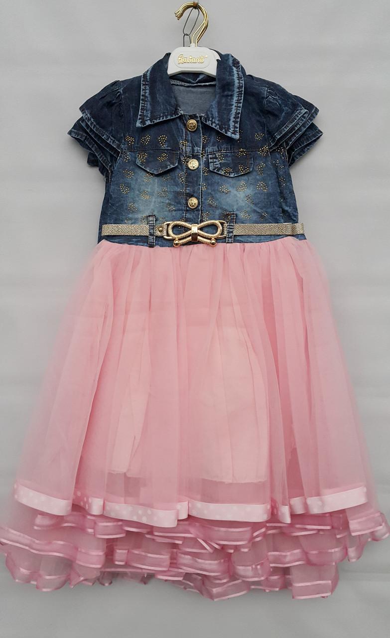 Платье джинсовое на девочек 5-6-7-8 лет Flaviano