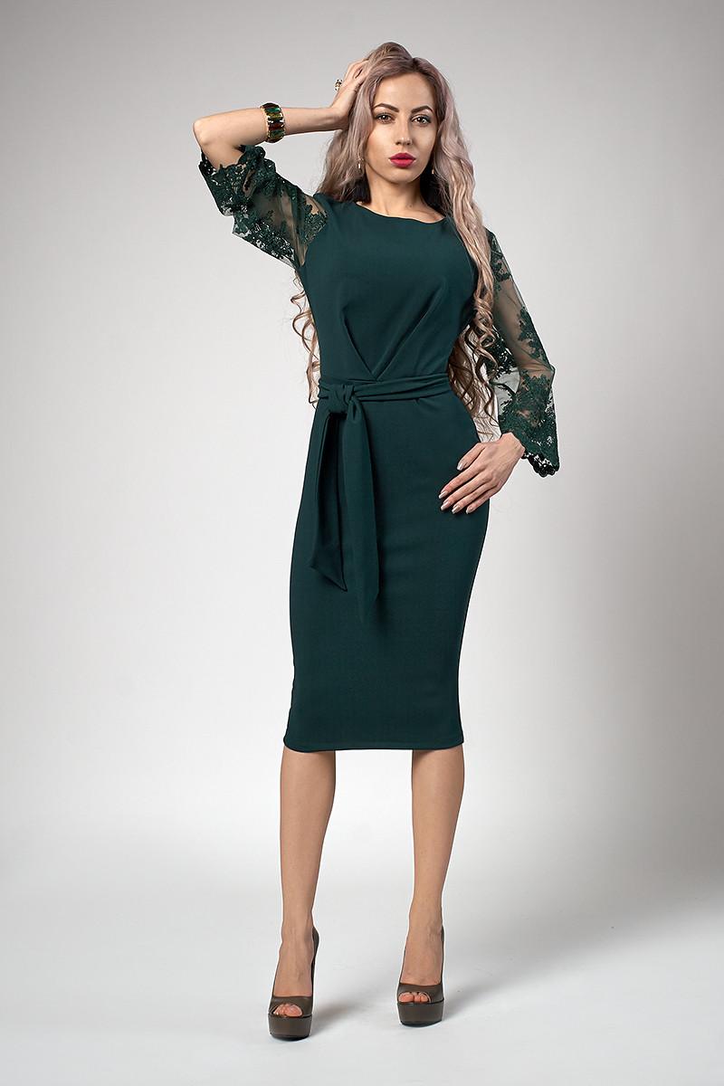 Платье мод №704-1, размеры 54 бутылочное