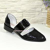 Стильные женские туфли на шнуровке, натуральная замша и лак, фото 1