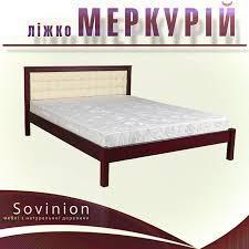 Ліжко півтораспальне з натурального дерева в спальню, дитячу Меркурій 140*200 Sovinion