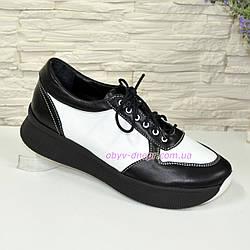 Стильные женские туфли на шнуровке, цвет черный/белый