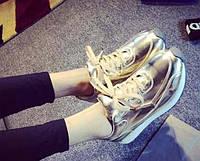 Женские кроссовки золото экокожа