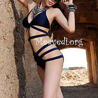 Темно-синий сдельный женский купальник, монокини, размер M