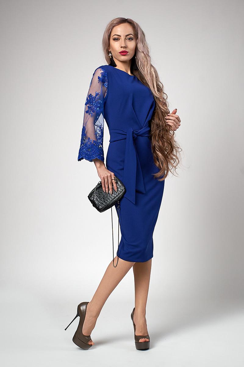 Платье мод №704-2, размеры 54 электрик