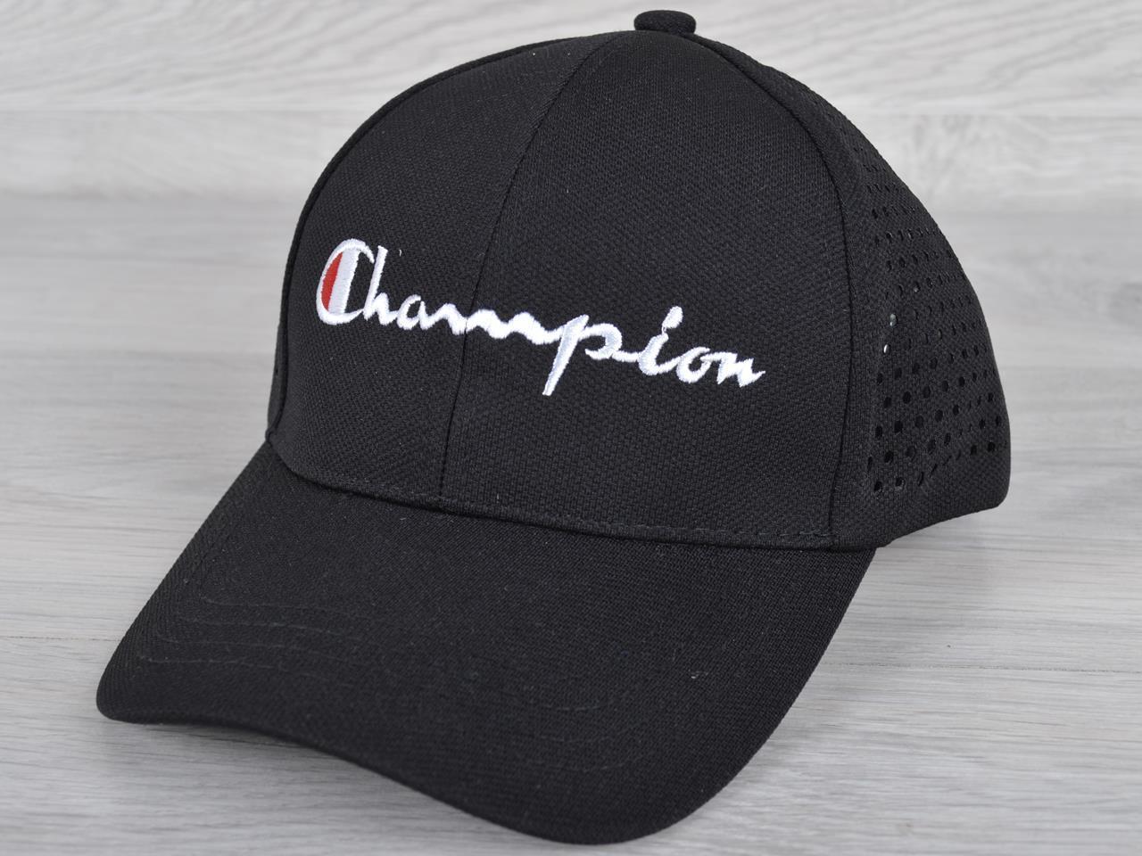 """Кепка мужская """"Champion"""". Размер 57-59 см. Черная с перфорацией. Оптом и в розницу."""