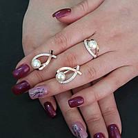 Серебряные серьги и кольцо с зотыми накладками, фото 1