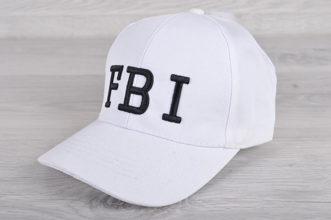 """Кепка детская""""FBI реплика"""". Размер 54 см. Белая. Оптом и в розницу."""